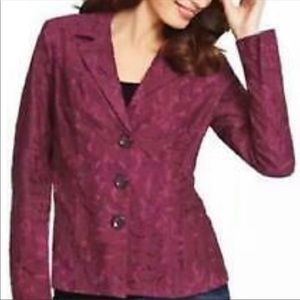 NWT CAbi plumberry lace and polyester blazer